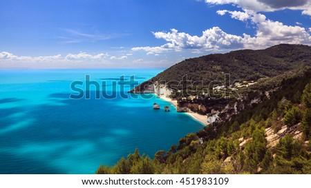 Beaches of the Adriatic Sea in Italy. Foggia Province - Gargano - Baia delle Zagare  - stock photo