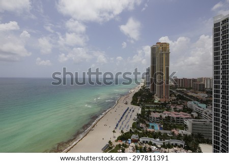 Beachfront highrise buildings in Miami Beach aerial image