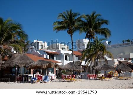 Beachfront Resorts at Playa del Carmen, Mexico - stock photo