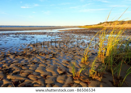 Beachscape on Cape Cod, Massachusetts, at sunset and low tide - stock photo