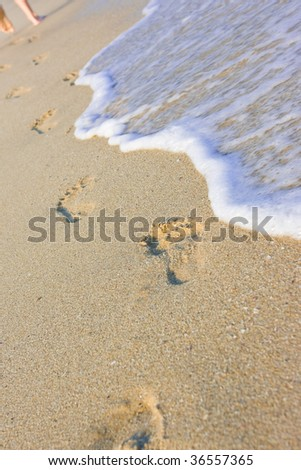 Beachwalk on the sea sand beach - stock photo
