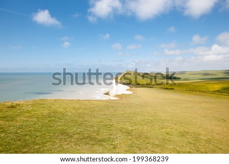 Beachy head, East Sussex, English South coast. The Belle Toute Lighthouse - stock photo