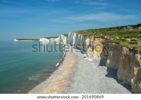 Beachy Head is a chalk cliffs in Southern England,  - stock photo