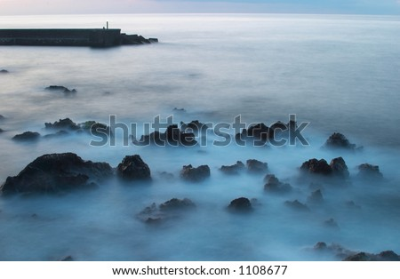 Beacon at sunset, Puerto de la Cruz, Tenerife 2 - stock photo