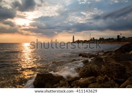 Beacon Chersones on a sunset, Sevastopol, the Crimea - stock photo
