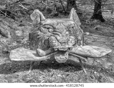 Beacon Fell Country Park, Lancashire, Uk. May 8th 2016. Wood carvings at Beacon Fell Country Park.