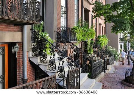 Beacon Hill, Boston. Victorian architecture, elegant neighborhood - stock photo