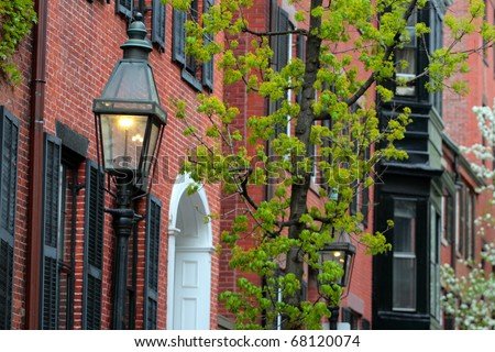Beacon Hill is a wealthy neighborhood of Federal-style rowhouses, with some of the highest property values in the United States - stock photo