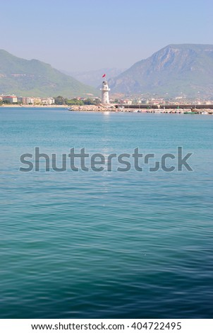 Beacon near the city of Alanya. Turkey - stock photo