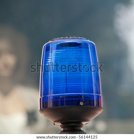beacon of a police motorcycle - stock photo