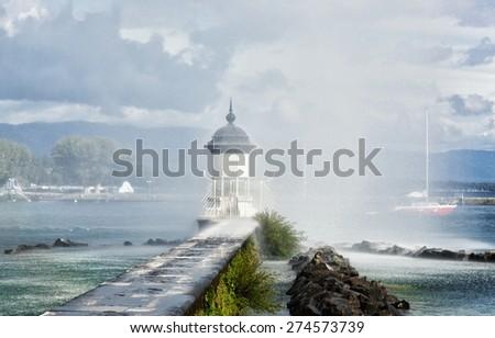 Beacon on the lake Leman in Geneva, Switzerland - stock photo