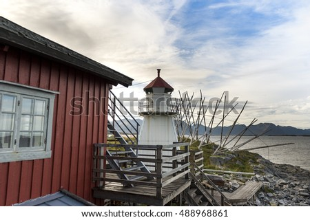 beacon on the seashore,Norway,Tromso