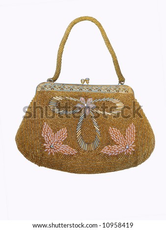 Beaded evening purse isolated with clipping path - stock photo