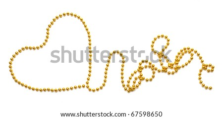 beads as heart on a white background