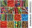 beads collage - stock photo