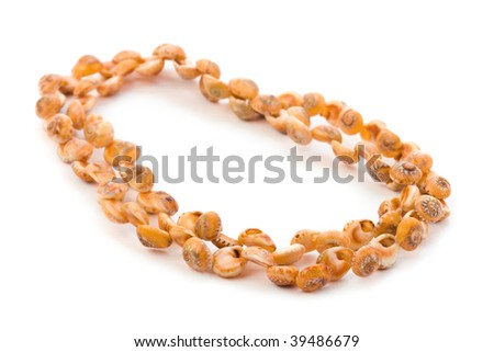 Beads made of conches isolated on white background