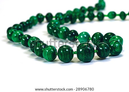 beads, necklace from malachite on white - stock photo