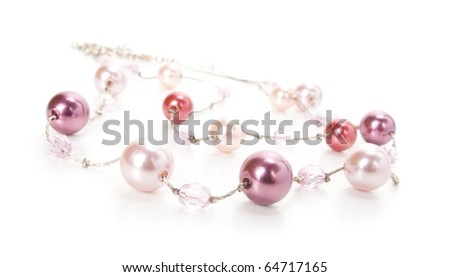 Beads on white background - stock photo