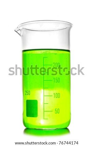 Beaker isolated on white. Laboratory glassware - stock photo