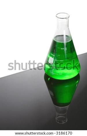 Beaker of green liquid - stock photo