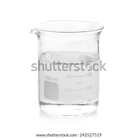 Beaker on white background - stock photo