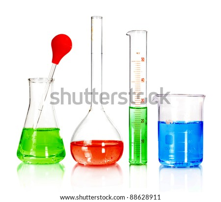 Beakers and laboratory glassware isolated over white background with reflections - With clipping path - stock photo