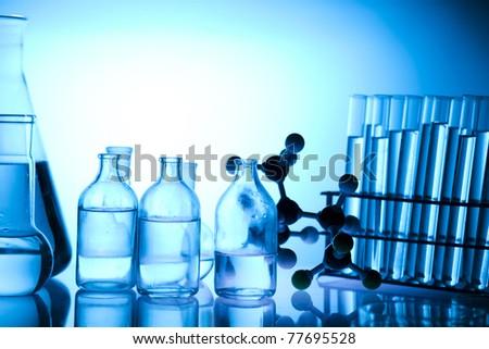 Beakers, Laboratory glassware - stock photo