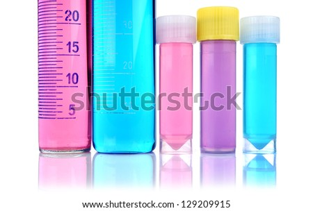 Beakers, test-tubes and laboratory glassware isolated on white background