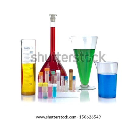 Beakers, test-tubes and laboratory glassware isolated on white background  - stock photo