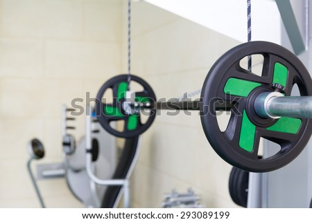 Beam in fitness gym - stock photo