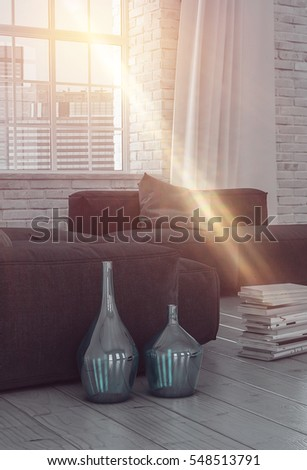 Beam of bright glowing sunlight shining into a living room interior through a large window with urban view lighting up the sofa and stack of books inside , 3d rendering