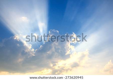 Beam of light and the clouds - stock photo