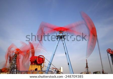 Beam pumping unit - stock photo