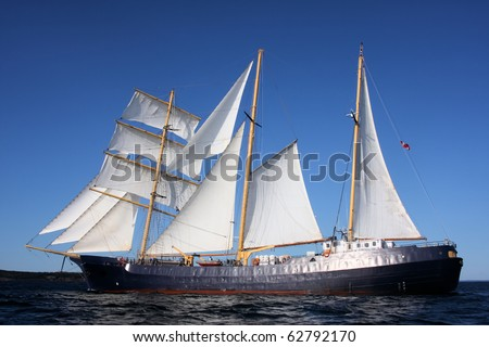 Beam Shot of Tall Ship Caledonia Under Sail