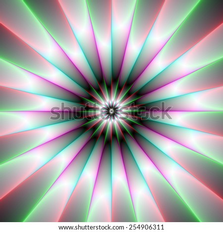Beaming Flower / A Digital abstract fractal image with a beaming flower design in green pink and white. - stock photo
