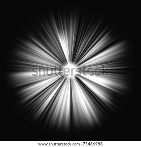 Beams of light on black: shining star in the dark. Large resolutin - stock photo