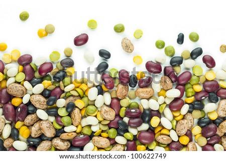 Bean Mixture on White Background Spilled on White - stock photo