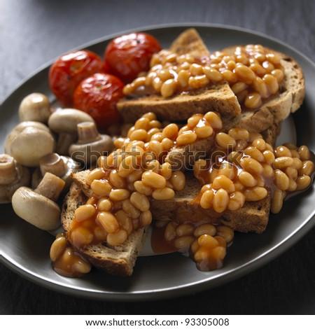 Bean On toast - stock photo