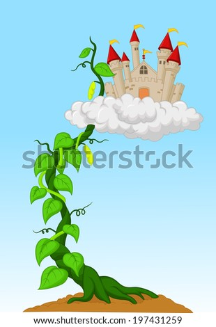 Bean sprout with castle in the clouds  - stock photo