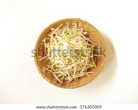 bean sprouts in the basket. - stock photo