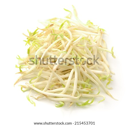 Bean Sprouts on White Background