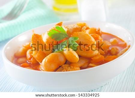 bean with sauce - stock photo