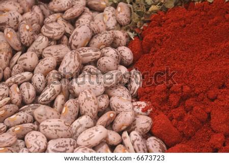 Beans and Paprika with Oregano, Close-up Shallow DOF - stock photo
