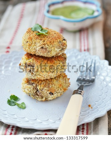 beans croquette with cucamber sause - stock photo