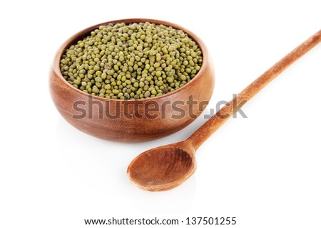 Beans in bowl isolated on white - stock photo