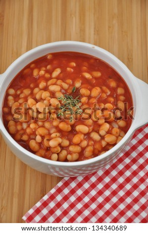 Beans in tomato sauce - stock photo