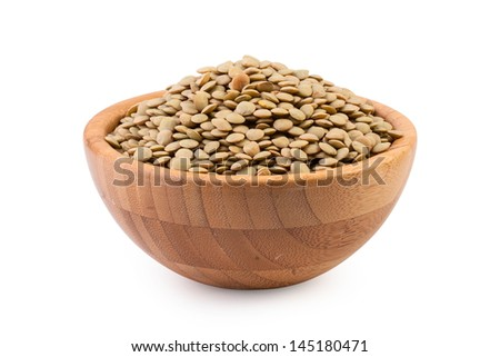 Beans in wooden bowl on white background  - stock photo