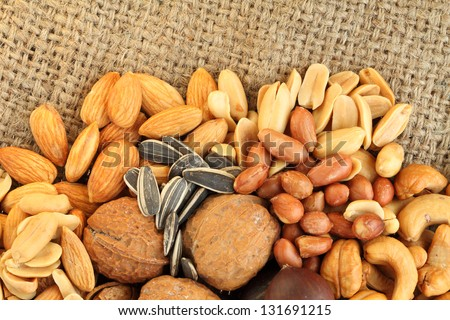 beans mixes on canvas background - stock photo