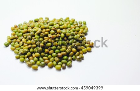 Beans on white background concept blank space text
