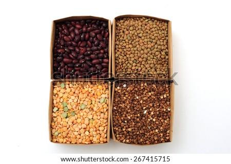 beans peas lentils buckwheat groats - stock photo